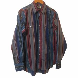 Wrangler vintage Pearl snap striped shirt size 16